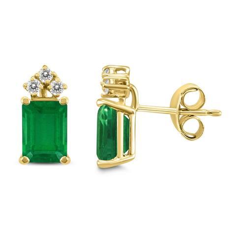 14K Yellow Gold 6x4MM Emerald Shaped Emerald and Diamond Earrings