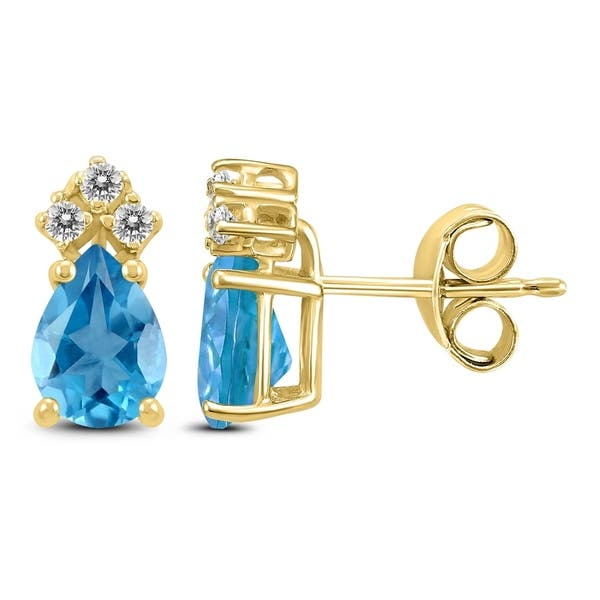 14k Yellow Gold 7x5mm Pear Blue Topaz And Diamond Earrings