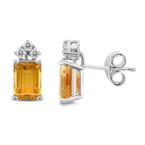 14K White Gold 8x6MM Emerald Shaped Citrine and Diamond Earrings