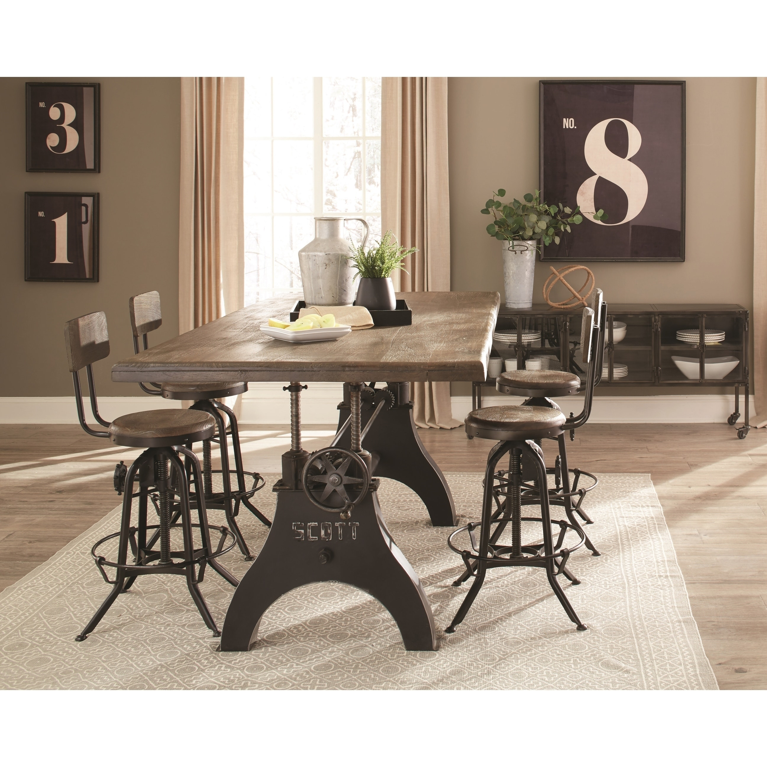 Cast Iron Vintage Milling Machine Design Counter Height Dining Set With Metal Buffet Server