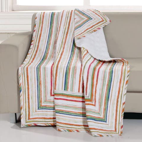 Greenland Home Fashions Sunset Stripe Reversible Quilted Throw Blanket