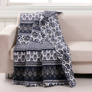 Barefoot Bungalow Native Indigo Reversible Quilted Throw Blanket