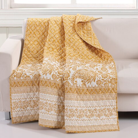 Barefoot Bungalow Mykonos Gold Reversible Quilted Throw Blanket