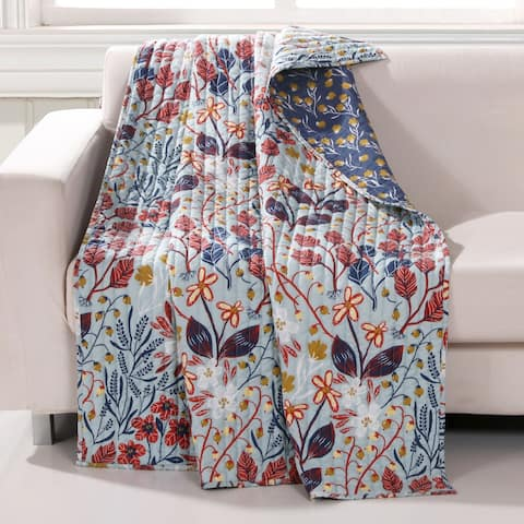 Barefoot Bungalow Perry Reversible Quilted Throw Blanket