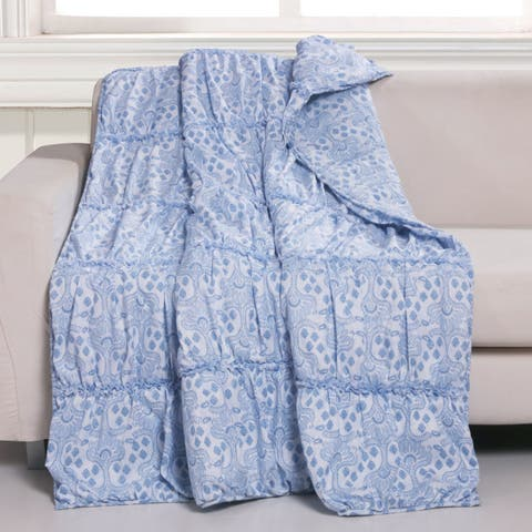 Greenland Home Fashions Helena Ruffle Blue Reversible Quilted Throw