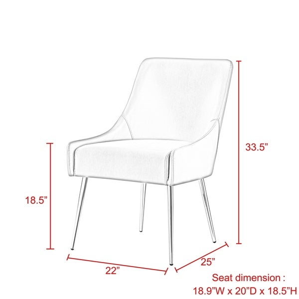 Camputo Leather/Velvet Dining Chair Stainless Steel Legs (Set of 2)
