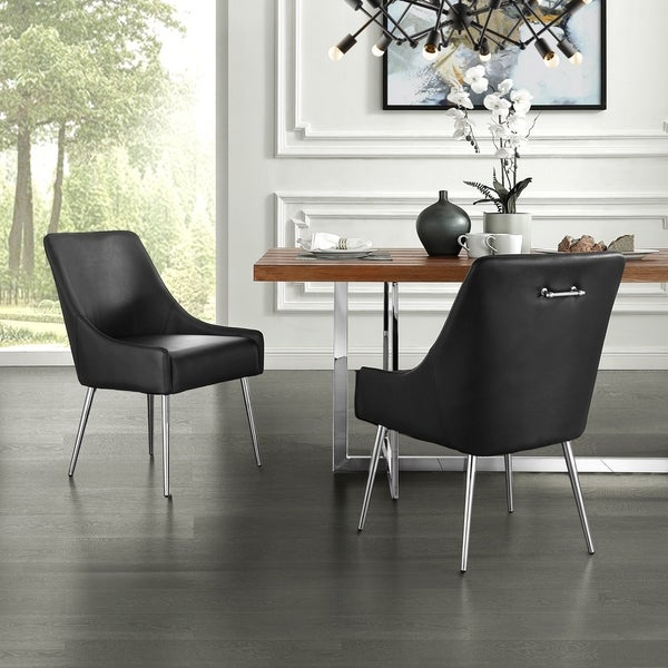 Camputo Leather/Velvet Dining Chair Stainless Steel Legs (Set of 2). Opens flyout.