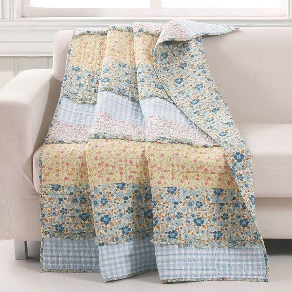 Barefoot Bungalow Ditsy Ruffle Reversible Quilted Throw Blanket