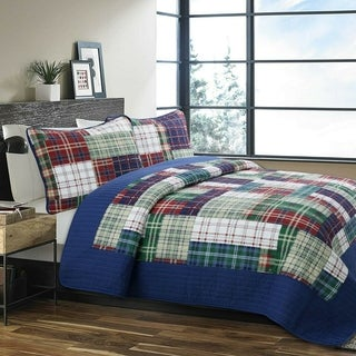 Link to Cozy Line Nate Patchwork Reversible Cotton Quilt Set - Navy/Red/Green/White - Navy/Red/Green/White Similar Items in Kids Comforter Sets