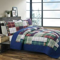 Cozy Line Nate Patchwork Reversible Cotton Quilt Set - Navy/Red/Green/White