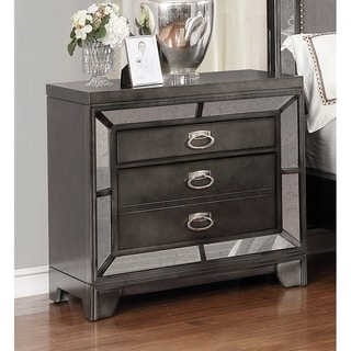 Best Quality Furniture Victoria 2-drawer Gun Metal Nightstand