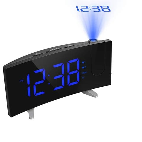 Projection Alarm Clock 5'' Dimmable LED Curved Screen Adjustable Ceiling Sleep Timer for Kids Bedrooms FM Radio