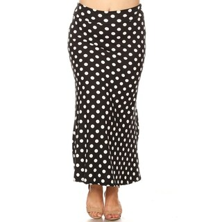 Women's Casual Polka Dot Lightweight Plus Size Elastic Maxi Skirt