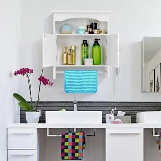 Bathroom Wood Medicine Storage  Mount Wall Cabinet w/ Towel Shelf