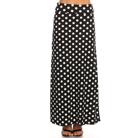 Women's Casual Polka Dot And Solid Lightweight Maxi Skirt