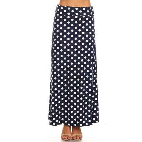 Women's Casual Polka Dot Pattern Lightweight Maxi Skirt