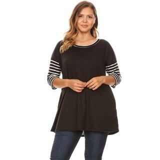 Women's Casual Solid Plus Size Long Body Tunic Shirt