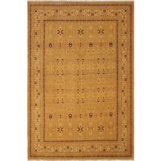 Antique Vegtable Dye Agra Ola Tan/Gold Wool Rug (9'0 x 12'3) - 9 ft. 0 in. x 12 ft. 3 in.