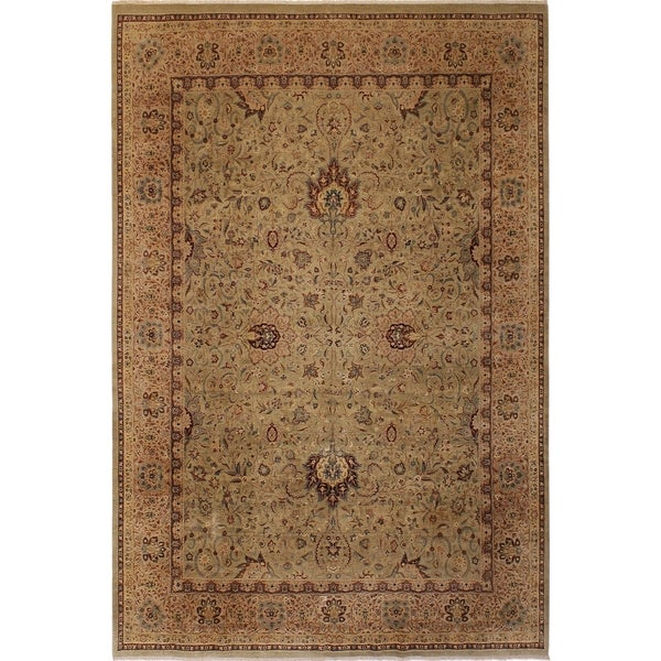 Antique Vegtable Dye Kashan Tamika Lt. Green/Tan Wool Rug (9'2 x 12'0) - 9 ft. 2 in. x 12 ft. 0 in.