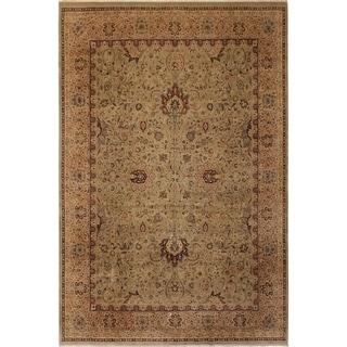 Antique Vegtable Dye Kashan Tamika Lt. Green/Tan Wool Rug (9'2 x 12'0) - 9 ft. 2 in. x 12 ft. 0 in.