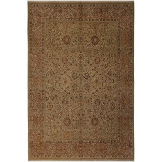 Antique Vegtable Dye Kashan Tonya Lt. Green/Tan Wool Rug (8'4 x 10'4) - 8 ft. 4 in. x 10 ft. 4 in.