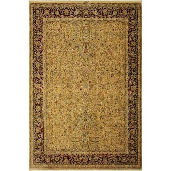 Antique Vegtable Dye Lahore Alycia Gold/Aubergine Wool Rug (9'1 x 11'9) - 9 ft. 1 in. x 11 ft. 9 in.