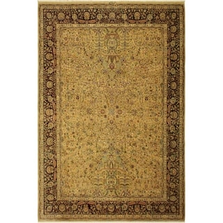 Antique Vegtable Dye Lahore Alycia Gold/Aubergine Wool Rug (9'1 x 11'9) - 9 ft. 1 in. x 11 ft. 9 in.