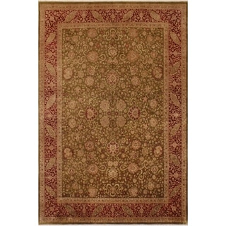 Antique Vegtable Dye Kashan Petra Olive Green/Red Wool Rug (9'2 x 12'1) - 9 ft. 2 in. x 12 ft. 1 in.