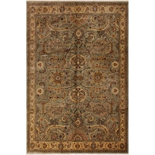 Istanbul Natalie Greenish Gr/Gold Wool Rug (8'0 x 10'0) - 8 ft. 0 in. x 10 ft. 0 in.