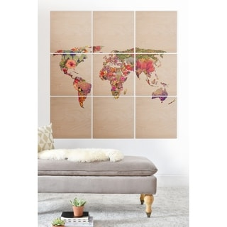 Deny Designs World Map Wood Wall Mural- 9 Squares - Brown/Multi-color