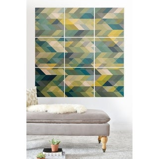 Deny Designs Blue Chevron Abstract Wood Wall Mural- 9 Squares - Green/Multi-color