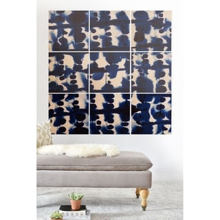 Deny Designs Indigo Abstract Wood Wall Mural- 9 Squares - Blue/White