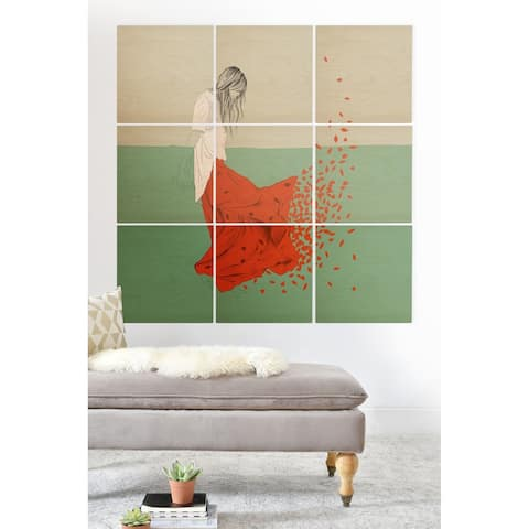 Deny Designs Red Leaf Woman Wood Wall Mural- 9 Squares - Grey