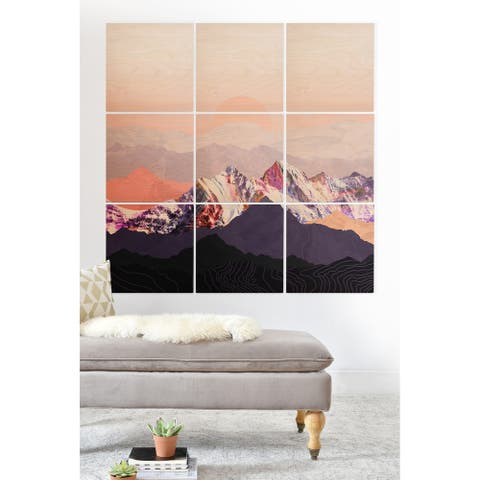 Deny Designs Mountain Sunset Wood Wall Mural- 9 Squares - Pink