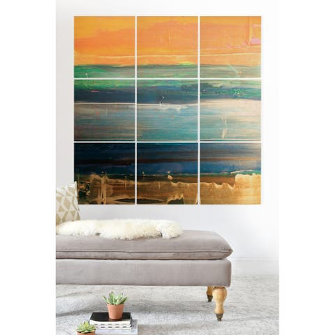 Deny Designs Abstract Linear Wood Wall Mural- 9 Squares - Green