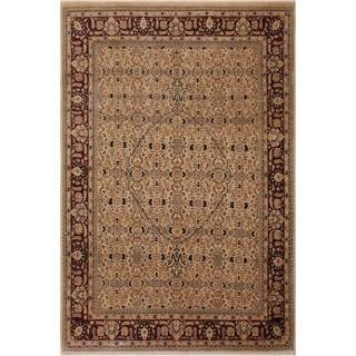 Antique Vegtable Dye Tabriz Pearl Tan/Drk. Red Wool Rug (7'11 x 9'11) - 7 ft. 11 in. x 9 ft. 11 in.