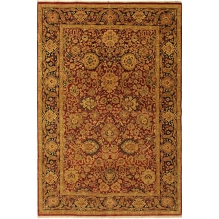 Antique Vegtable Dye Anmol Agra Luanna Red/Blue Wool Rug (4'7 x 7'3) - 4 ft. 7 in. x 7 ft. 3 in.