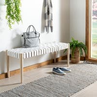 "Safavieh Amalia Bench -White / Natural - 47"" x 16"" x 18"""