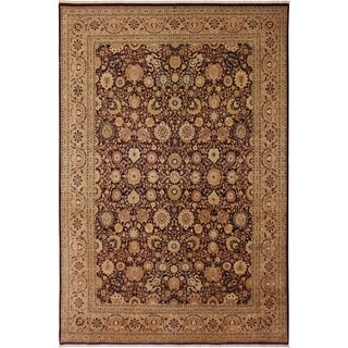 Antique Vegtable Dye Tabriz Fay Aubergine/Tan Wool Rug (8'11 x 12'0) - 8 ft. 11 in. x 12 ft. 0 in.