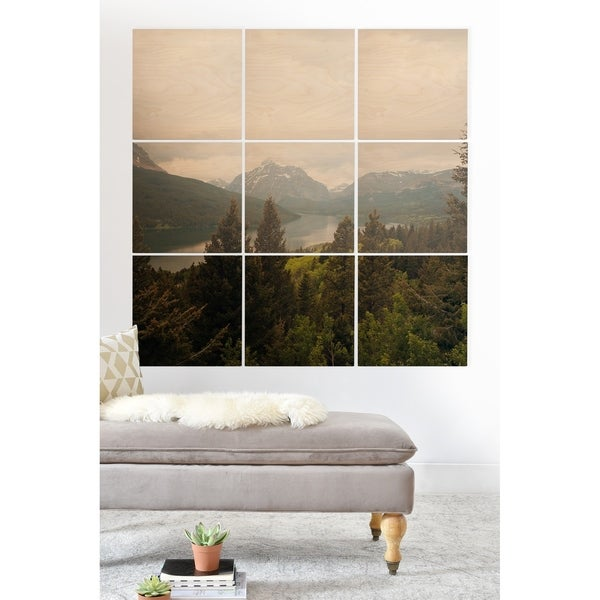 Deny Designs Montana Lake and Mountains Wood Wall Mural- 9 Squares - Green/Multi-color/White