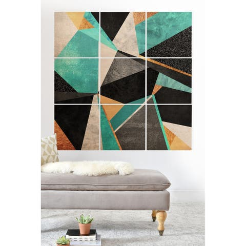 Deny Designs Turquoise Geometry Wood Wall Mural- 9 Squares - Black
