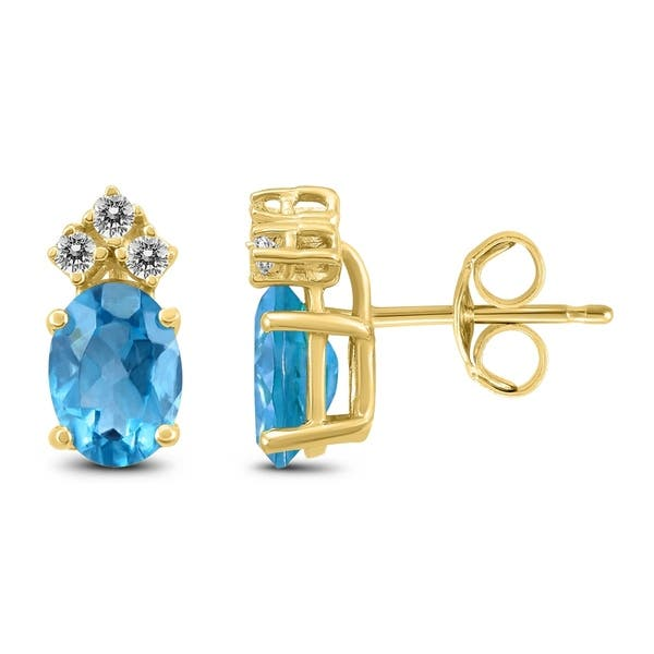 14k Yellow Gold 8x6mm Oval Blue Topaz And Diamond Earrings