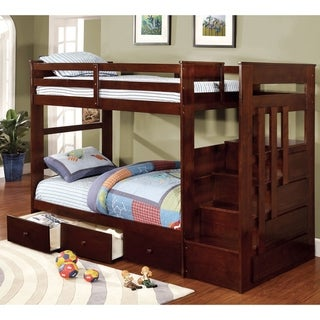 Furniture of America Adra Transitional Walnut Bunk Bed with Trundle