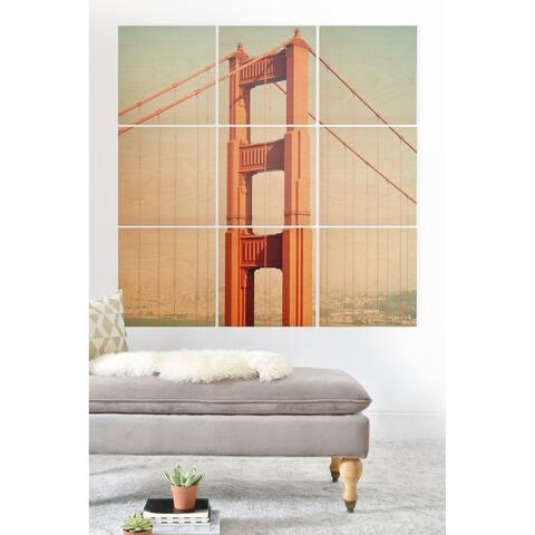 Deny Designs Golden Gate Bridge Wood Wall Mural- 9 Squares - Blue