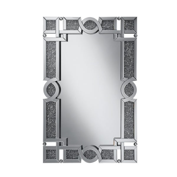 """Silver Orchid Bech Silver Embellished and Glamorous Frame Wall Mirror - 31.50"""" x 2"""" x 47.25"""""""
