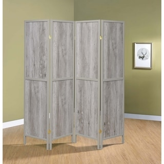 "Grey Driftwood 4-panel Folding Screen - 69.50"" x 0.75"" x 70.25"""