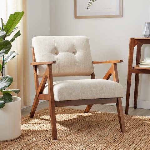 Carson Carrington Robey Taupe Tufted Arm Chair