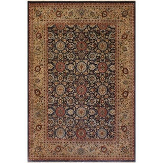 Antique Vegtable Dye Agra Tabriz Johanna Blue/Dark Tan Wool Rug (10'3 x 14'6) - 10 ft. 3 in. x 14 ft. 6 in.