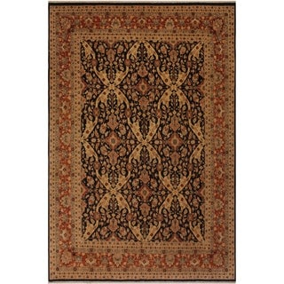 Lahore Istanbul Latonia Black/Rust Wool Rug (8'2 x 10'0) - 8 ft. 2 in. x 10 ft. 0 in.