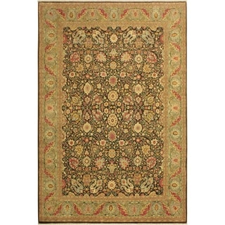 Istanbul Jerry Brown/Lt. Green Wool Rug (9'3 x 11'9) - 9 ft. 3 in. x 11 ft. 9 in.